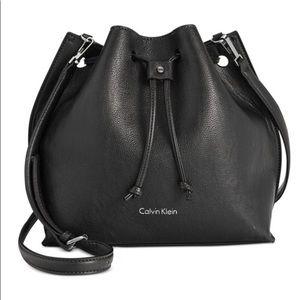 Calvin Klein Black Bucket Drawstring Purse